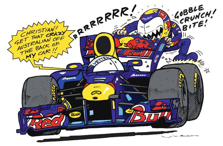 Себастьян Феттель просит убрать Марка Уэббера - комикс Jim Bamber по Гран-при Великобритании 2011