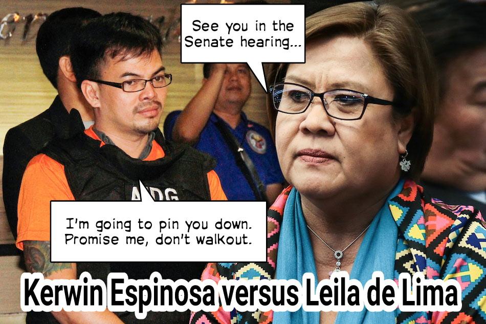 Image of Sen. Leila de Lima, famous Eastern Visayas drug lord Kerwin Espinosa, Kerwin's affidavit, Sen. Manny Pacquiao
