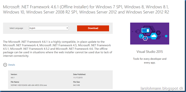 framework 4.5 windows 10 download