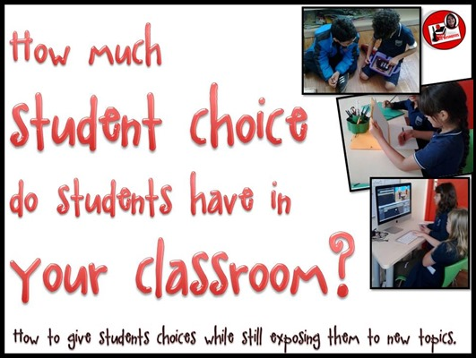 How much student choice do students have in your classroom? This blog post will explain how to give students choices while still exposing them to new topics. Opinions by Heidi Raki of Raki's Rad Resources.