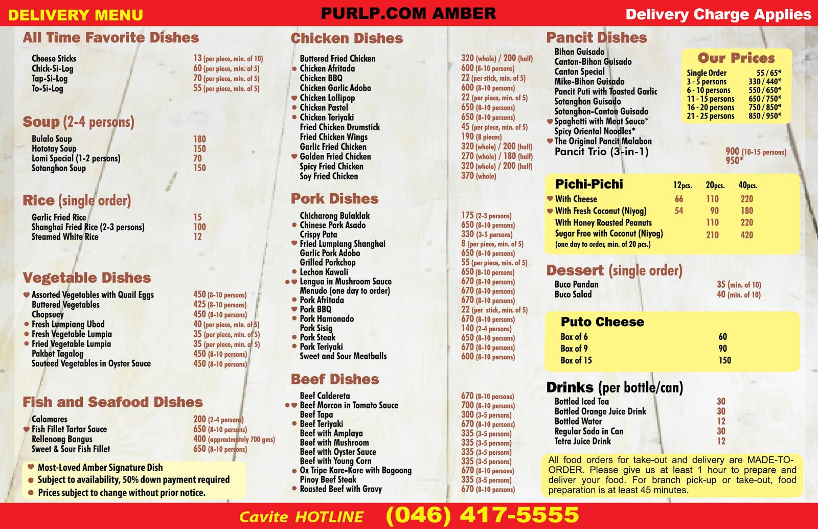 ambers dineIn takeOut menu 2015
