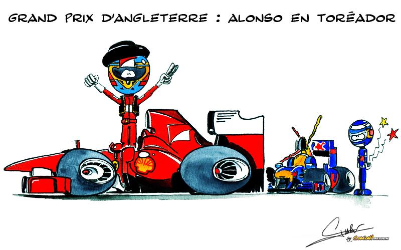 Тореадор Фернандо Алонсо побеждает за Ferrari на Сильверстоуне - комикс от Quentin Guibert по Гран-при Великобритании 2011