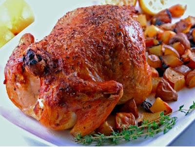 Pollo de corral asado