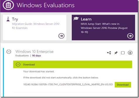Windows 10 Enterprise tarjolla 90 päivän kokeiluversiona.