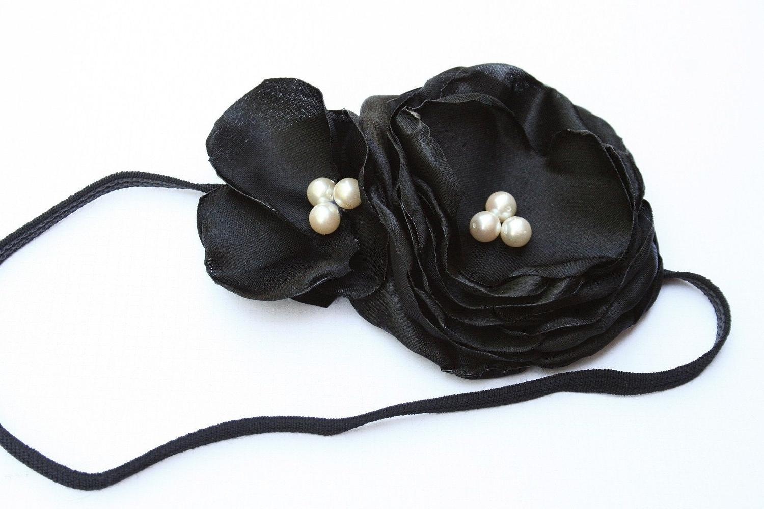 Black Flower Headband, Stretch