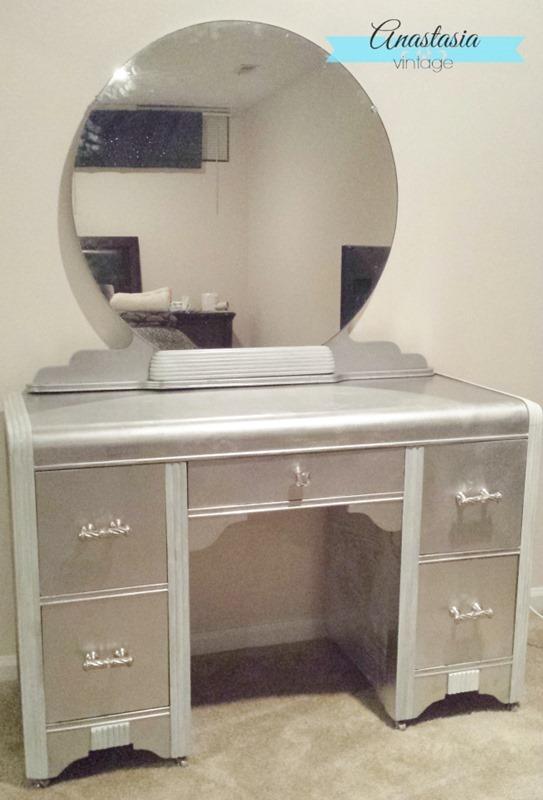 art deco vanity vintage silver leaf effect vanity