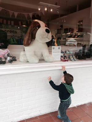 Baby Boy pointing a big toy dog in shop window