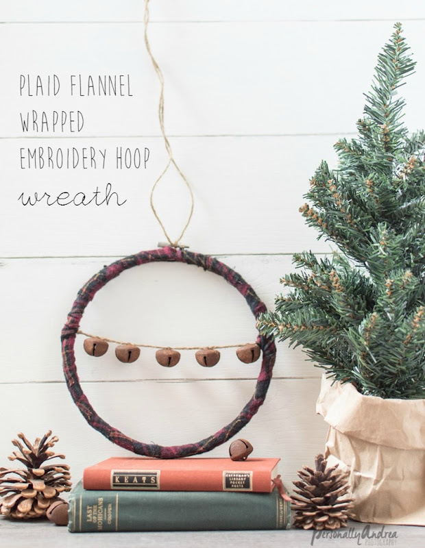 plaid flannel wrapped embroidery hoop wreath
