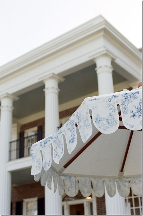 Toile Scallop Umbrella by Boutique Tents | Photo by Adrienne Page