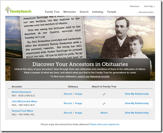 FamilySearch obituary marketing campaign landing page