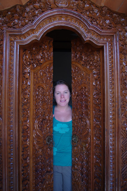 An intricately carved door in our Ubud Homestay.