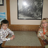 Bryan and Hannah at a McDonald's in the Chicago Amtrak station 01142012