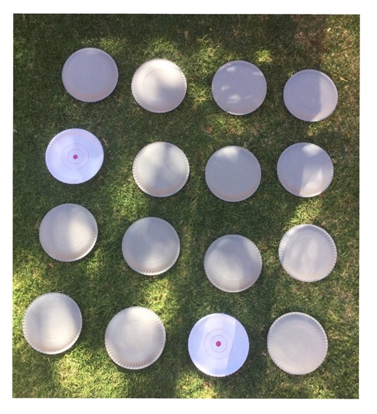 use 16 plates to make a simple game for toddler or preschoolers