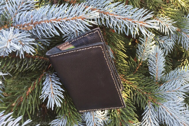 Black gold leather card case hand stitching