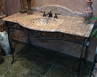 Neoclassical Maple Leaf Red Integrated Basin Vanity Top & Wrought Iron Stand