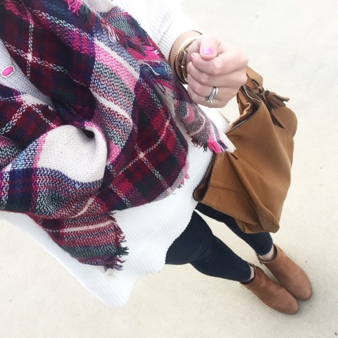 how to tie a blanket scarf, ankle boots, plaid scarf