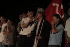 Maila Lama (with microphone), is one of the leaders of the Maoist performance team, and a militant fighter for revolution. photo credit: Thomas van Beersum