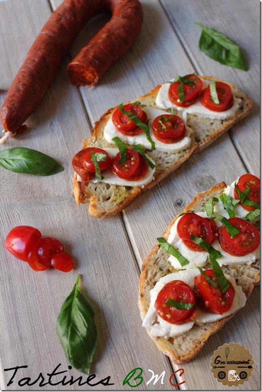Tartines Basilic, Mozza, Chorizo 1
