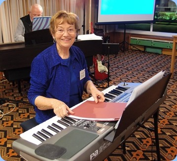 The Club's Events Manager, Diane Lyons, played the arrival music as well as a performance on her Korg Pa900. Photo courtesy of Club Photographer, Dennis Lyons.