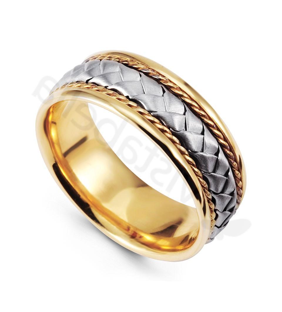 Milgrain Braided 14K White Yellow Gold Wedding Band - Wedding Bands - Bridal