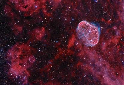 Nebulosa Bolha de Sabão & Nebulosa Crescente