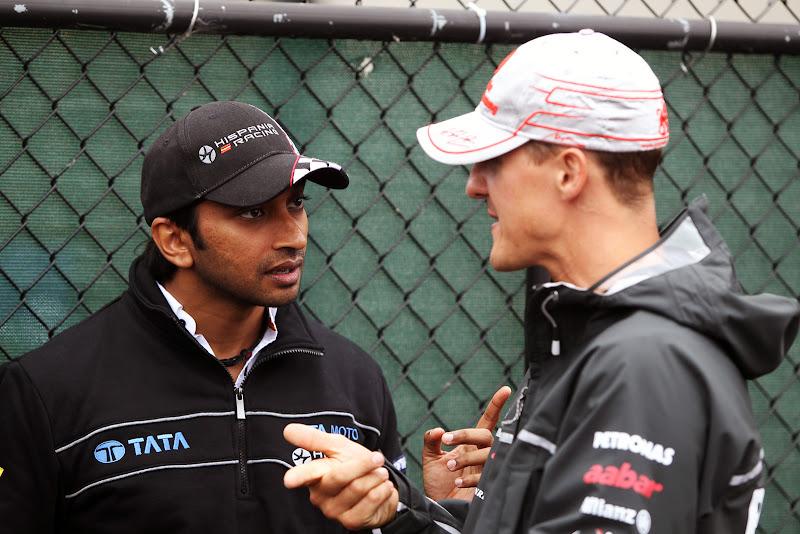 Нараин Картикеян и Михаэль Шумахер на Гран-при Канады 2011