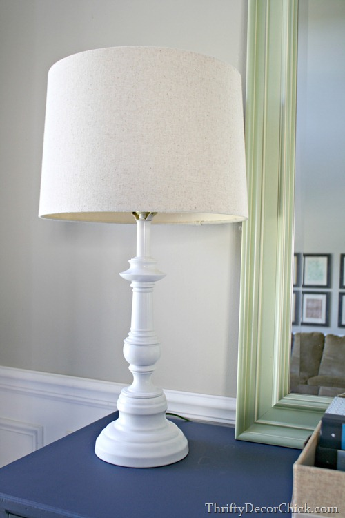 white spray painted lamp