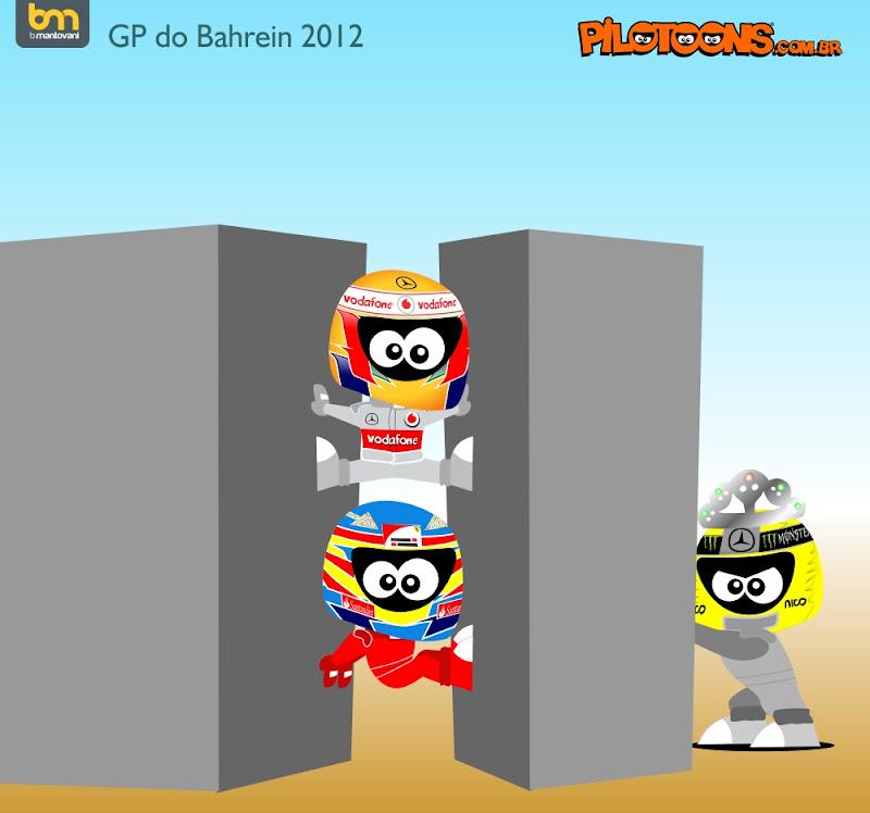 pilotoons Нико Росберг против Льюиса Хэмилтона и Фернандо Алонсо на Гран-при Бахрейна 2012