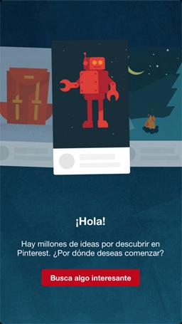 Página de bienvenida de Pinterest