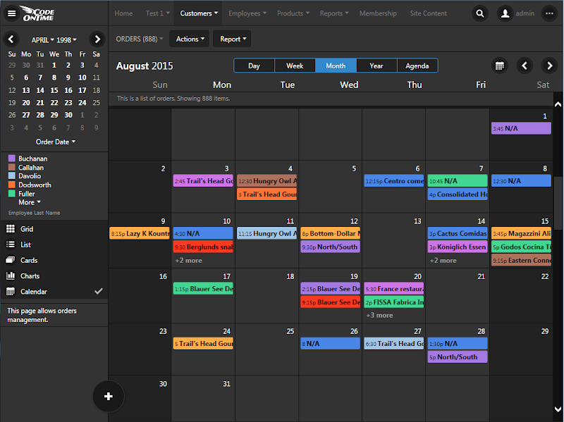 Calendar view style in Touch UI
