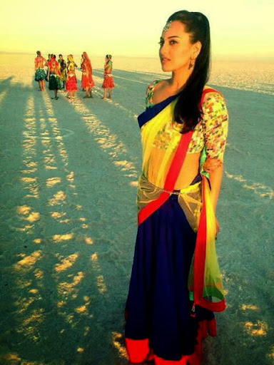 Sonakshi Sinha in Blue Color Lehenga and Yellow Color Choli Pics in R Rajkumar Movies Sutting Photoshoot
