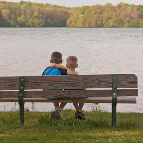 Brothers on bench by Katie Woolwine - Novices Only Portraits & People ( family, boys, children, pwcbenches, lake, brothers )