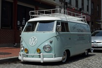Classic Volkswagen van parked on the streets of Baltimore