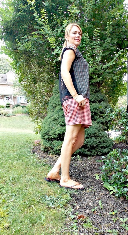red plaid shorts, plaid top with lace back2