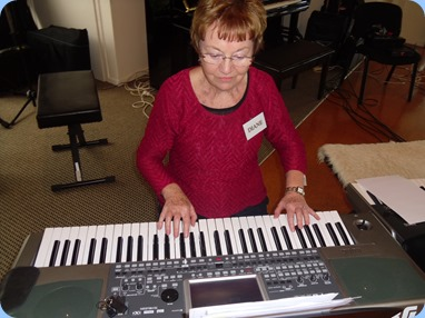 Our Events Manager, Diane Lyons, playing her Korg Pa900. Photo courtesy of Delyse Whorwood.