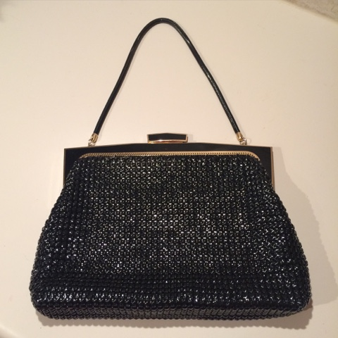 Retro vintage black Glomesh evening bag
