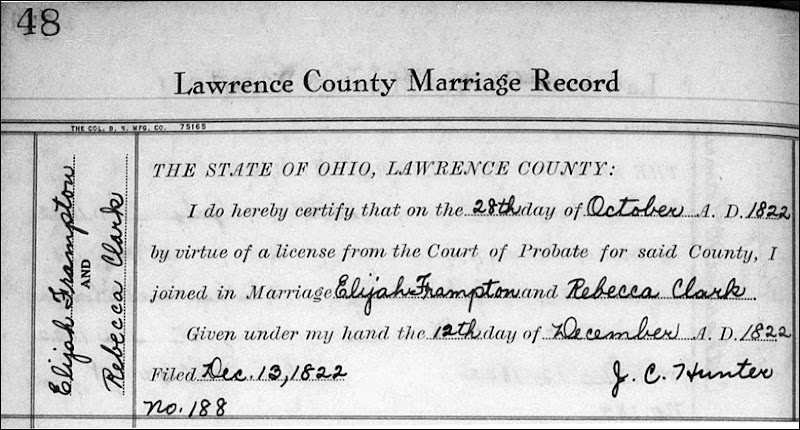 FRAMPTON_Elijah Sr marriage to Rebecca CLARK_Oct 1822_Lawrence Co OH_cropped