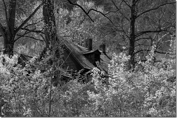 Kimmswick, MO, Missouri, Abandoned House, Infrared, IR, Black & White