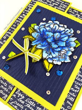 Linda Vich Creates: Best Thoughts Joy Fold Card. Shimmering sequins surround blossoms colored with Zig Clean Color Real Brush Markers on a woodgrain embossed panel of this Joy fold card.