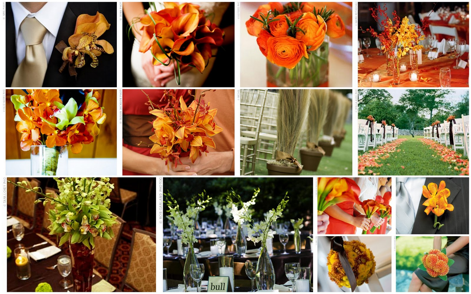 Orange & Green Wedding Flowers