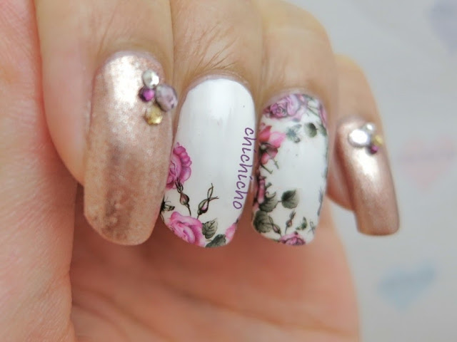 floral Rose Border Nail Art water transfer decal