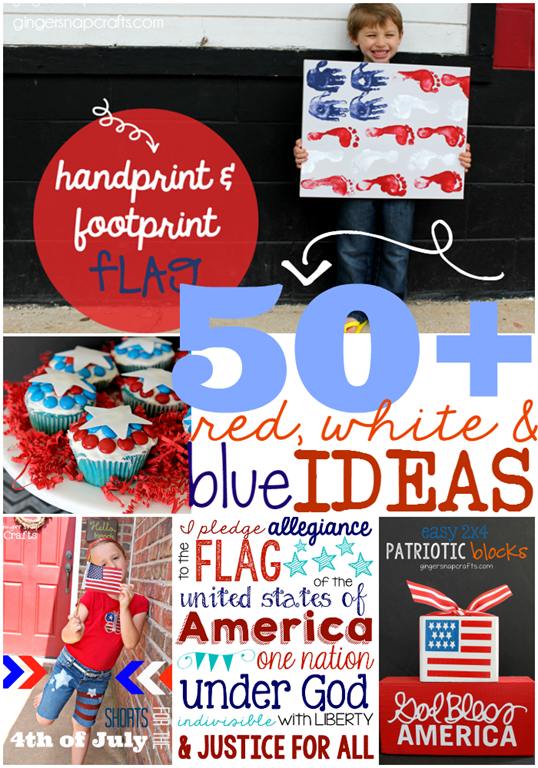 50  Red, White & Blue Ideas at GingerSnapCrafts.com #redwhiteblue #patriotic #usa #gingersnapcrafts