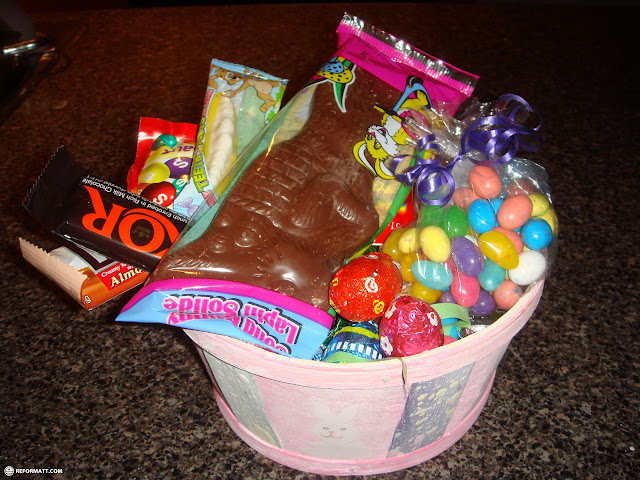 basket loaded with easter chocolate eggs in Toronto, Ontario, Canada