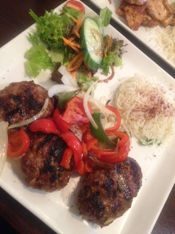 Turkish halal Kofte meatballs with veg and rice