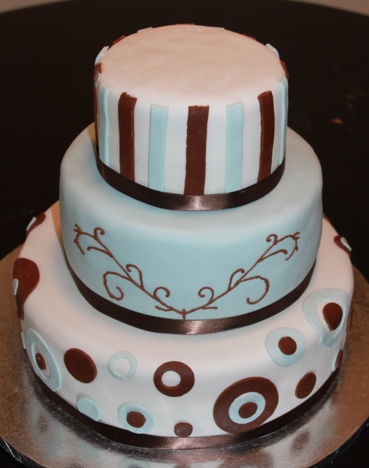Brown & Blue Wedding Cake