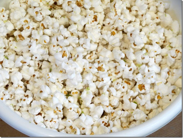 Lime Kettle Corn with White Popcorn and coconut oil
