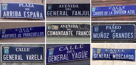 callejero franquista de Madrid