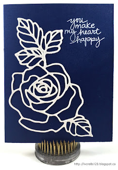 Linda Vich Creates: I Never Promised You A Rose Garden, Or Did I? A Dazzling Diamonds Rose Garden die cut adorns the front of a Night of Navy card.