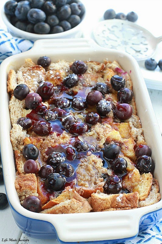 This Overnight Blueberry and Cream Cheese French Toast Bake is easy ...