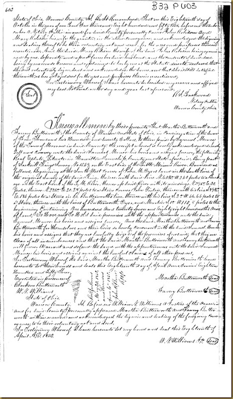 John Robison and Mary Robison of Warren Co, OH convey land to John Irwin 1852 1